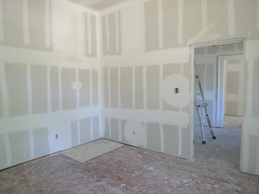 drywalled work in progress room