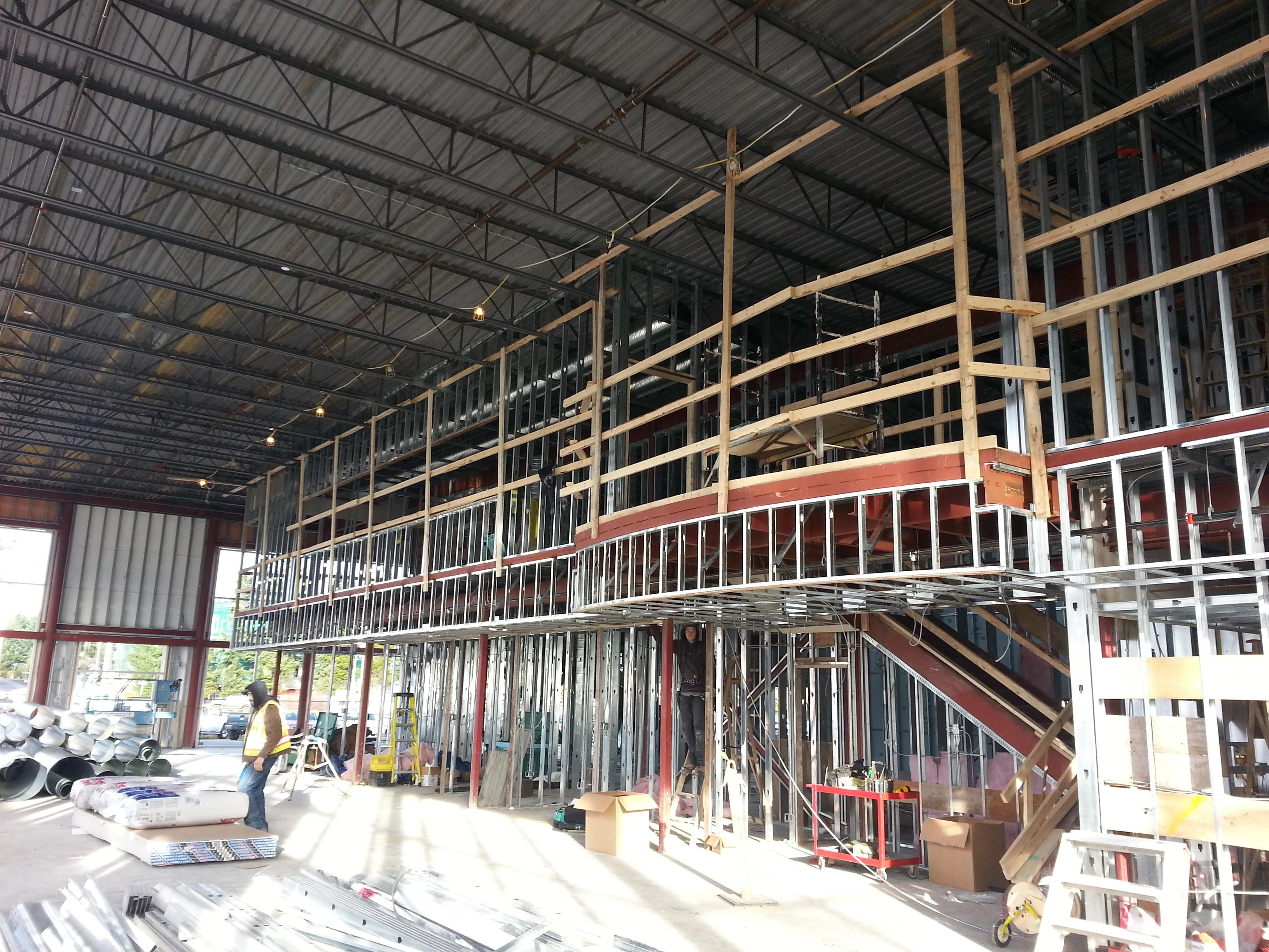 steel stud framed commercial building interior