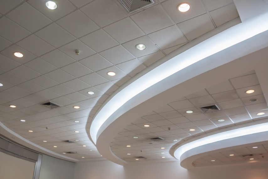 Commercial T-bar Ceiling with pot lights