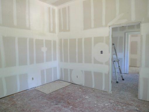 drywalled work in progress room