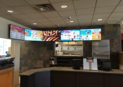 fast food counter with t-bar ceiling