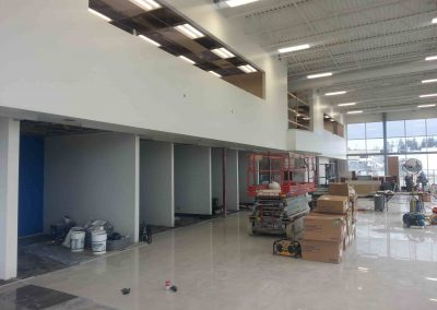 commercial building interior with unfinished drywall