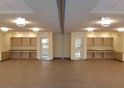 room with centre divider on ceiling
