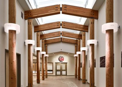 hallway with timber framed post and beams